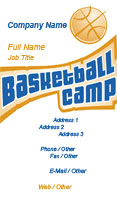 Basketball Camp Business Card Template